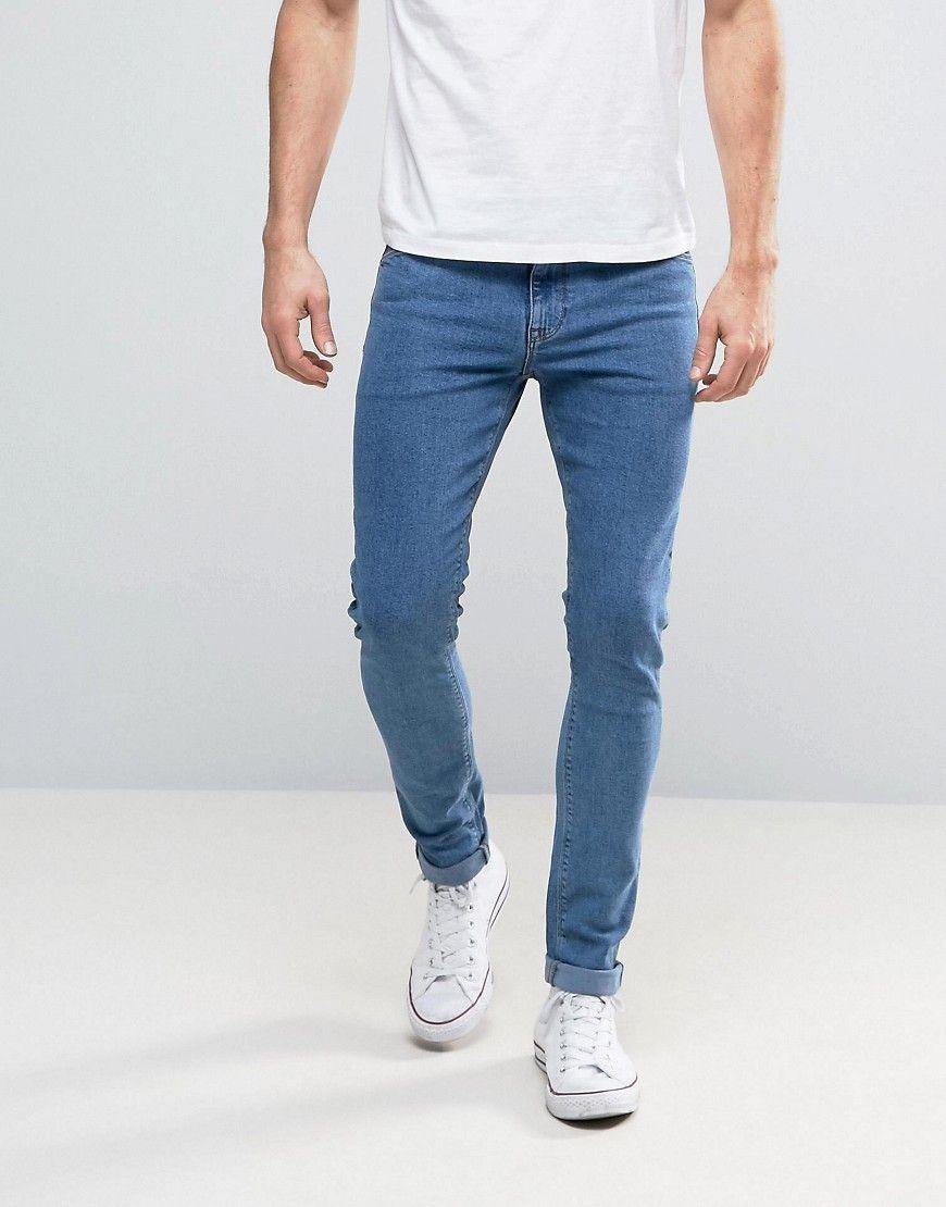 ASOS Super Skinny Jeans In Retro Mid Wash - Blue  40478854fb