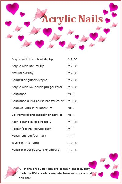Price List Acrylic Nails Price Nail Prices Salon Price List