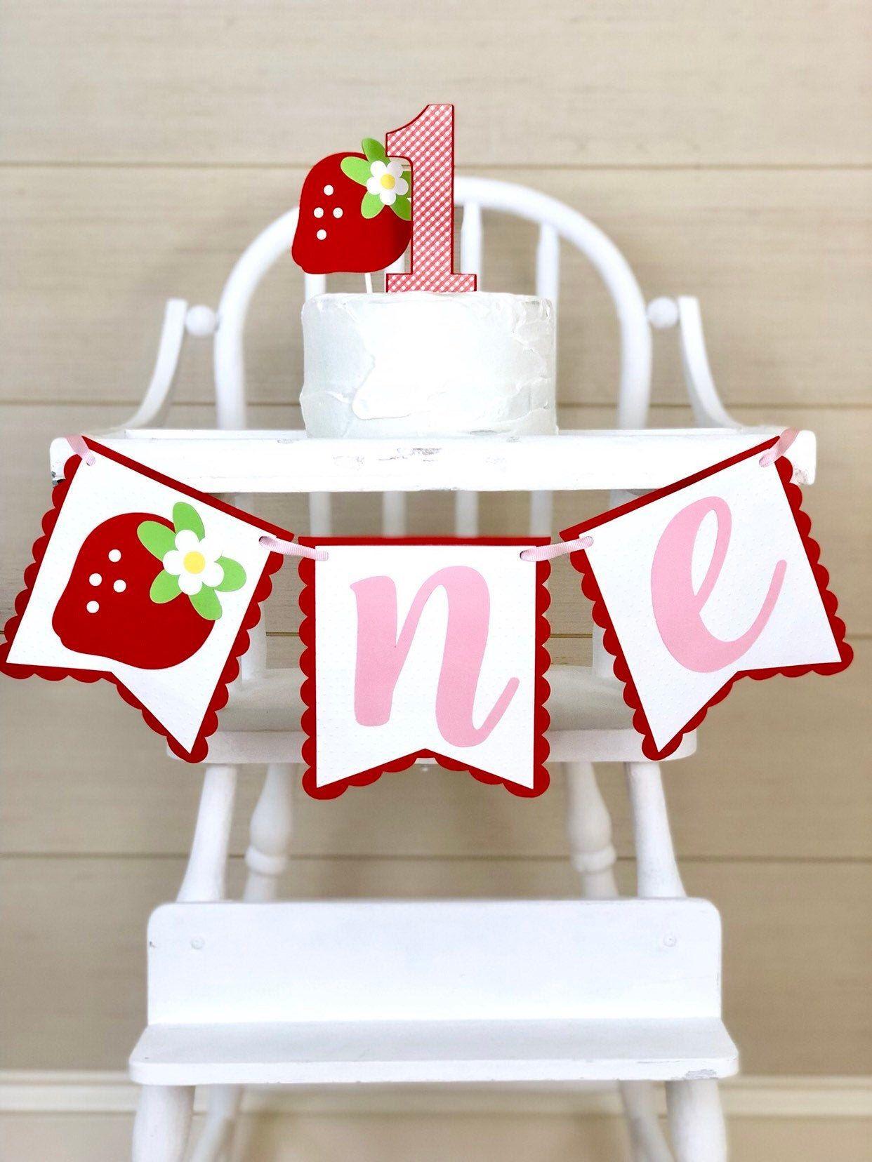 highchair banner Strawberry shortcake birthday banner smash cake photo shoot prop strawberry themed party