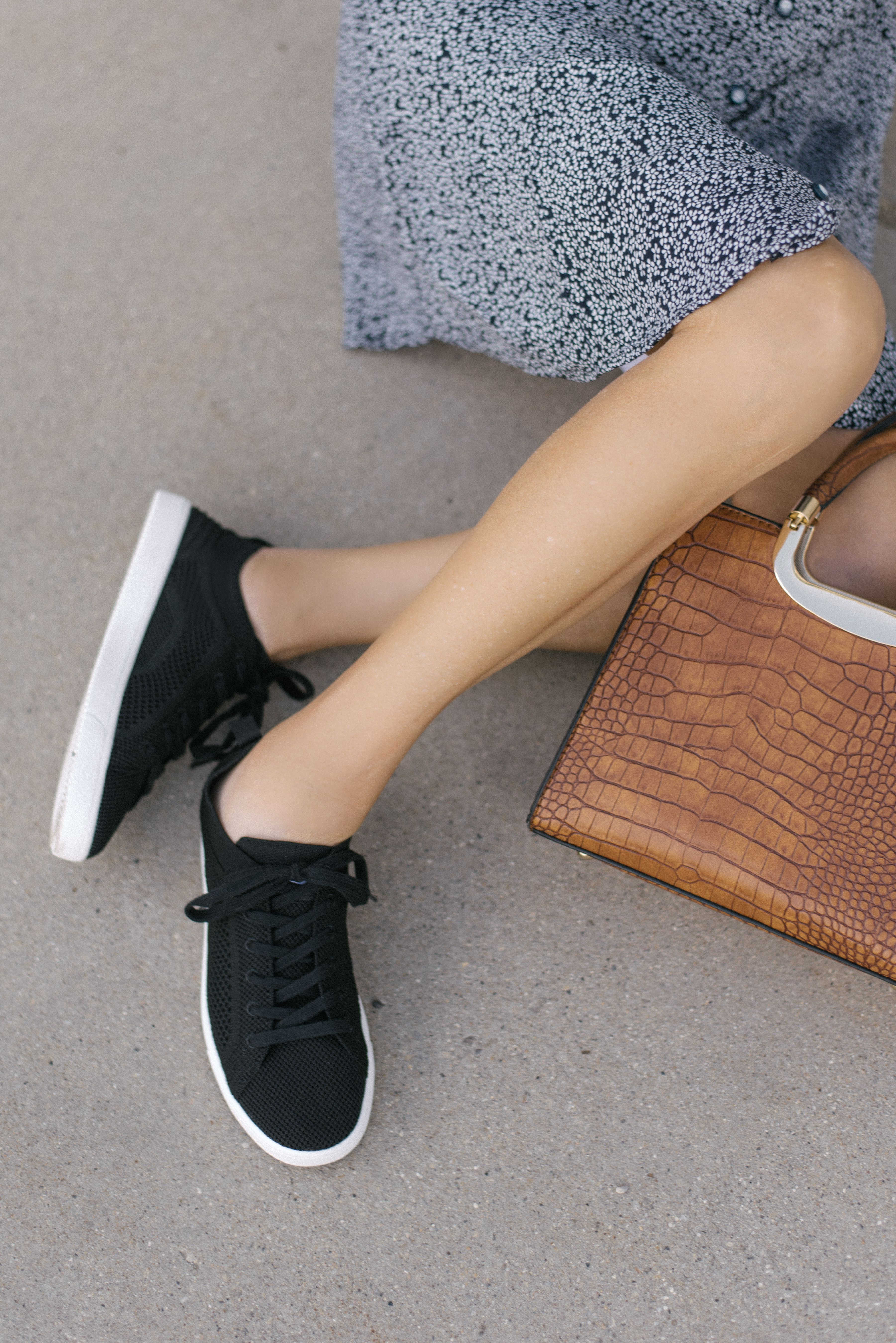 Black Sneakers Black Sneakers Outfit Dress With Sneakers Minimalist Fashion Women [ 5394 x 3601 Pixel ]