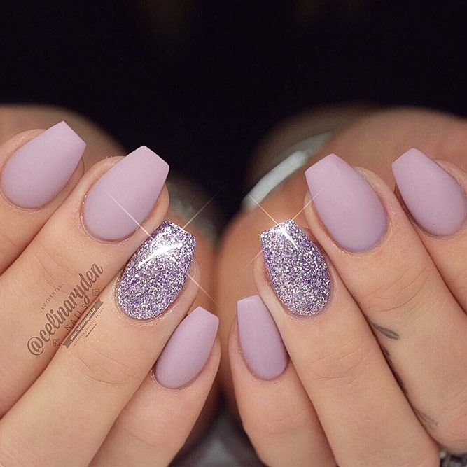 True Embellishments For Your Coffin Nails Short Coffin Nail Ideas Picture 3 See More Http Glaminati Mauve Nails Coffin Shape Nails Glitter Accent Nails