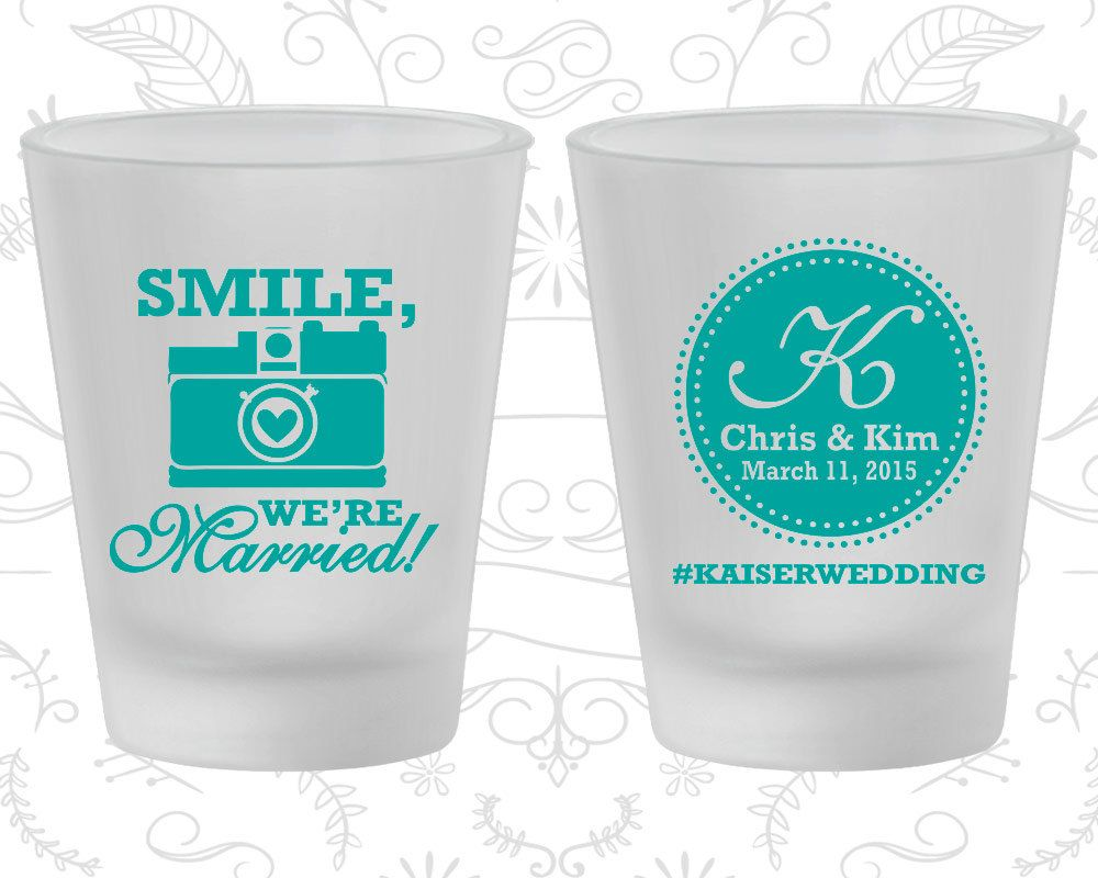 Smile We are Married, Wedding Favor Frosted Shot Glasses, Hashtag ...