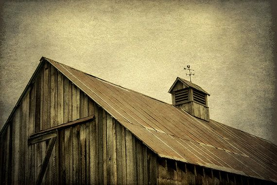 Weathered Wooden Barn Rooster Weathervane by MScottPhotography #rusticdecor #winteriscoming #weatheredbarn #weathervane #woodenbarn