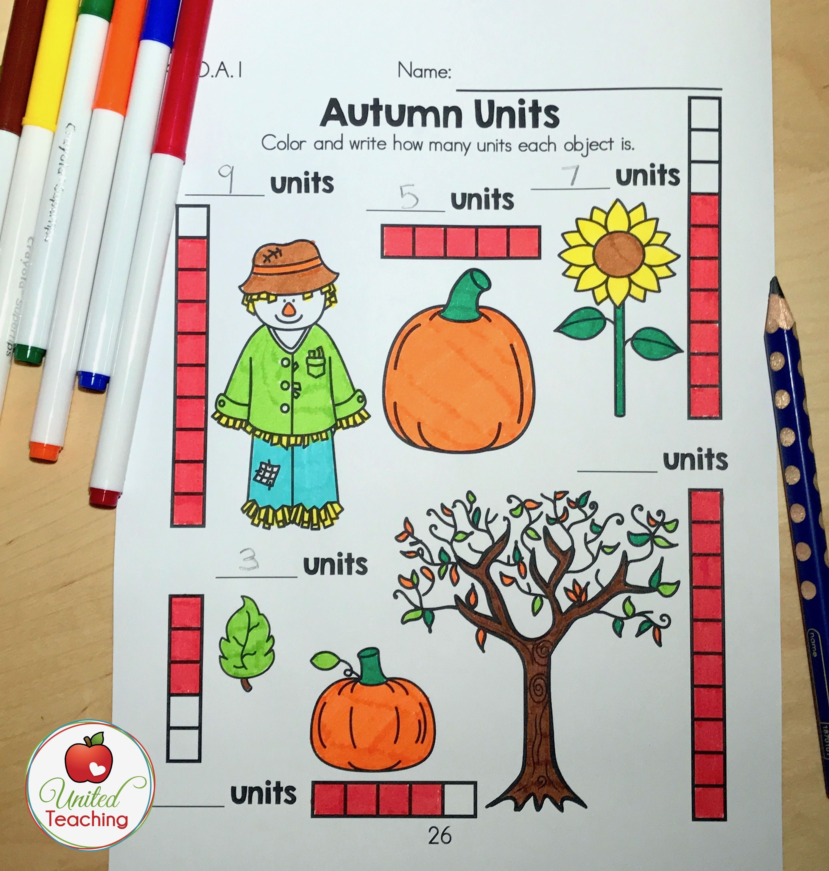 Introduce Measurement With This Fall No Prep Activity For Kindergarten Children
