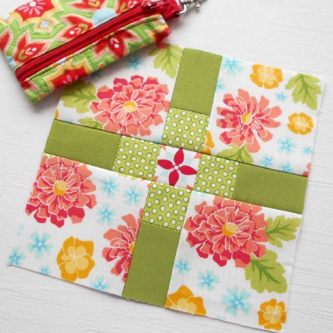 The Splendid Sampler block no. 73 Plus Love.  A delightful and easy patchwork block created in Summerfest fabrics.