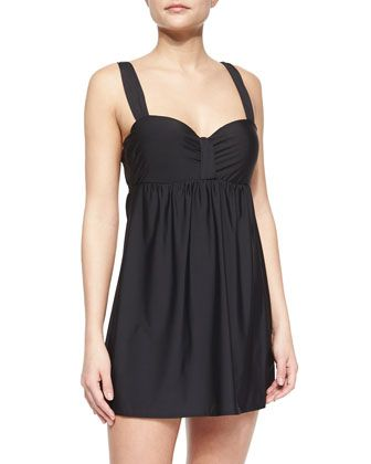 Finesse Molded Cup Swim Dress, Black by Athena at Neiman Marcus.