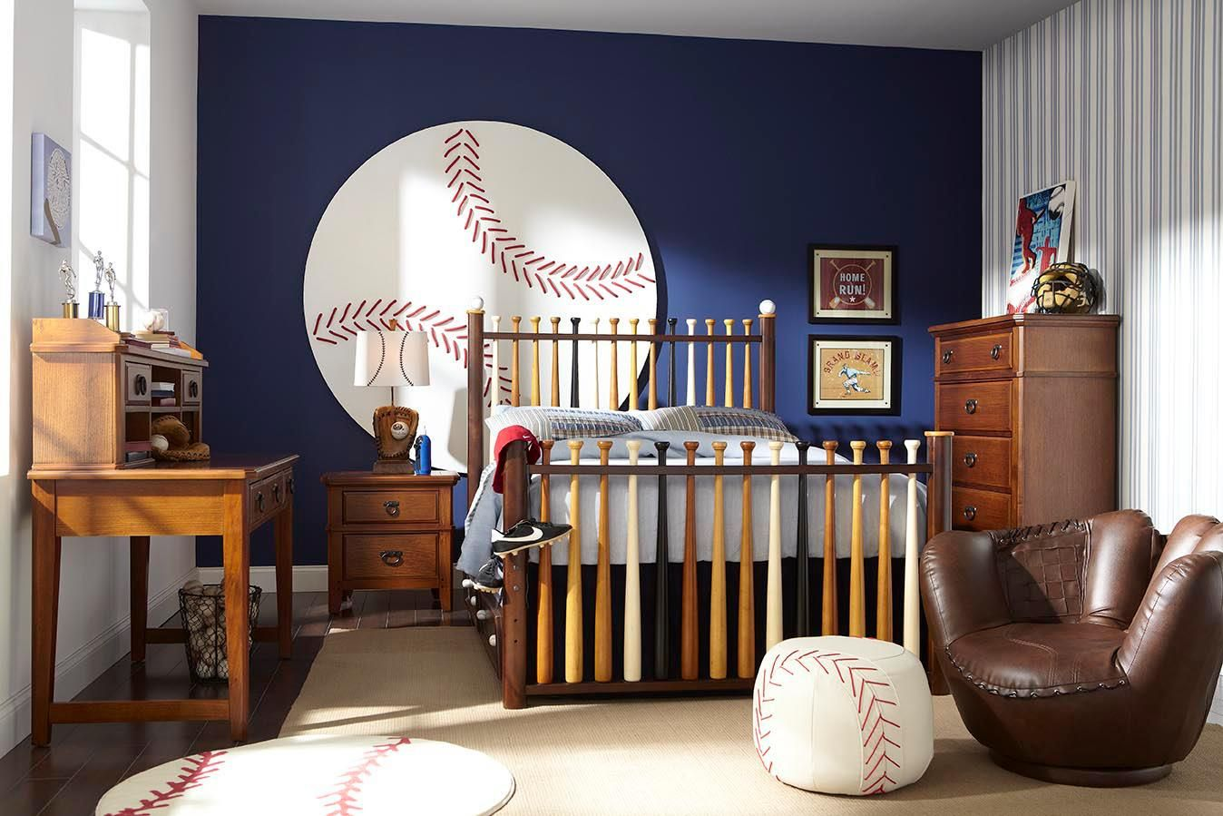 batter up 5 pc twin bedroom decor kid s bedrooms pinterest rh pinterest com Sports Room Baseball Bat