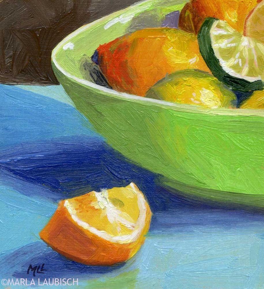 Sedwick Studio Purple Bowl Of Plums Fruit Bowl Still: Daily Paintworks - Marla Laubisch