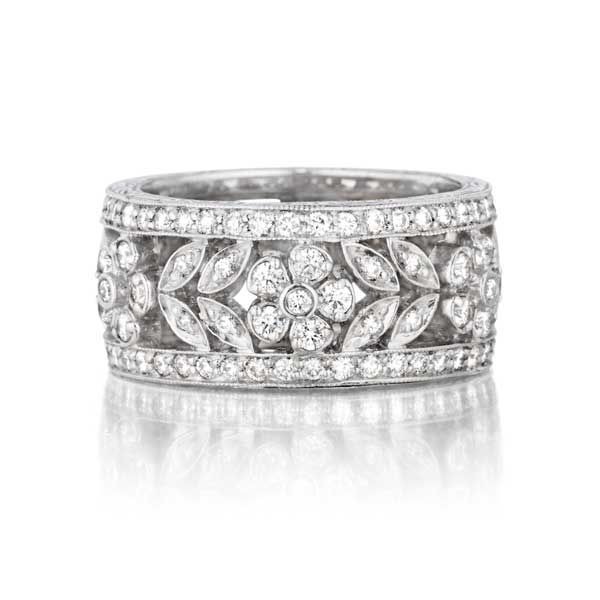Penny Preville Floral Pave Diamond White Gold Womens Wedding Band