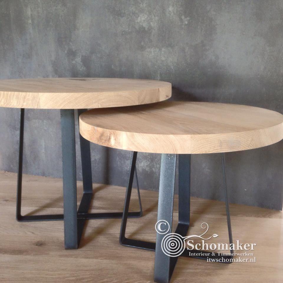 Ronde bijzettafels in industrieel ontwerp Deze bijzettafeltjes hebben een tafelblad van 3cm dik