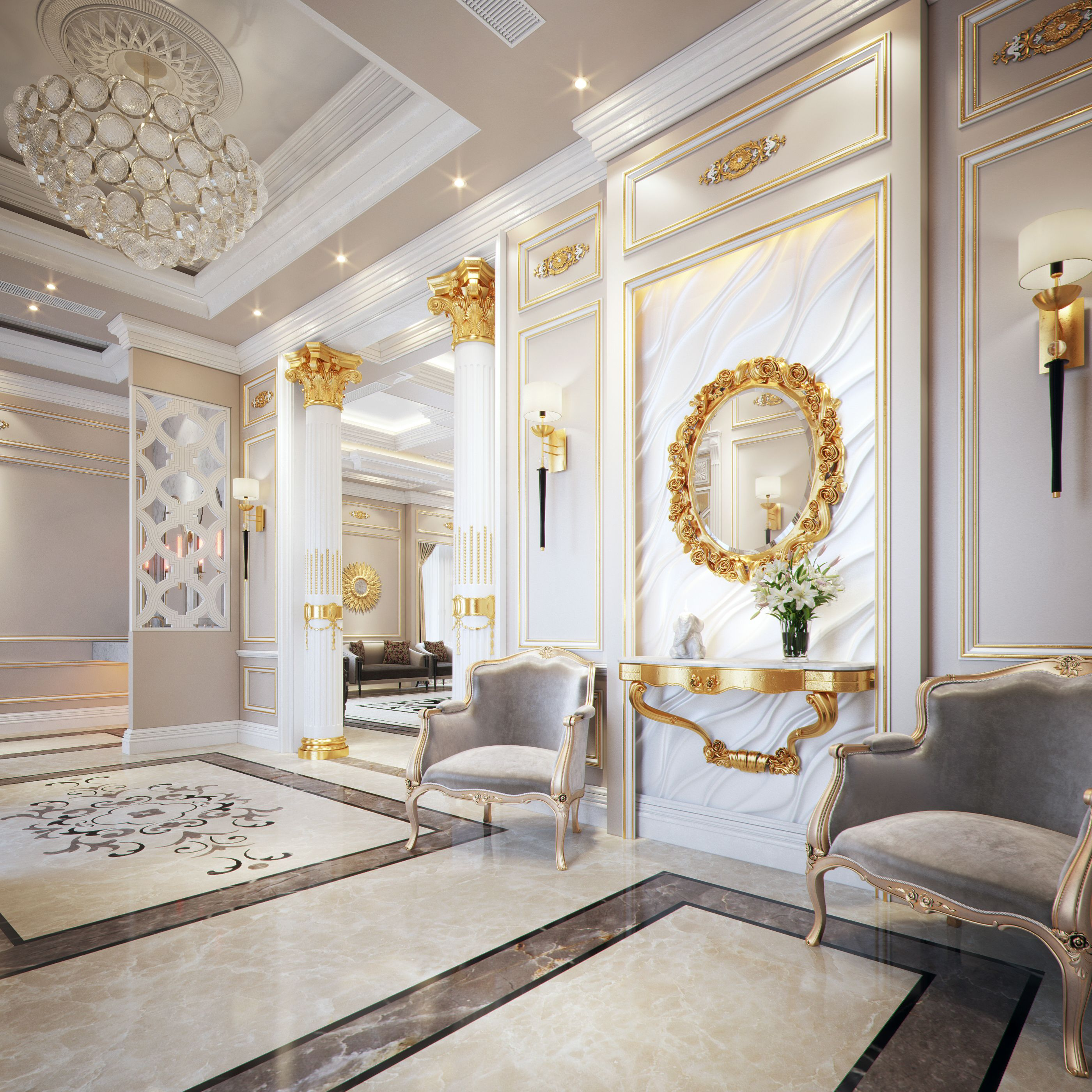 Check Out My Behance Project Classic Style Villa Https Www Behance Net Gallery 4670492 Classic Interior Design Classic Interior Luxury Living Room Design