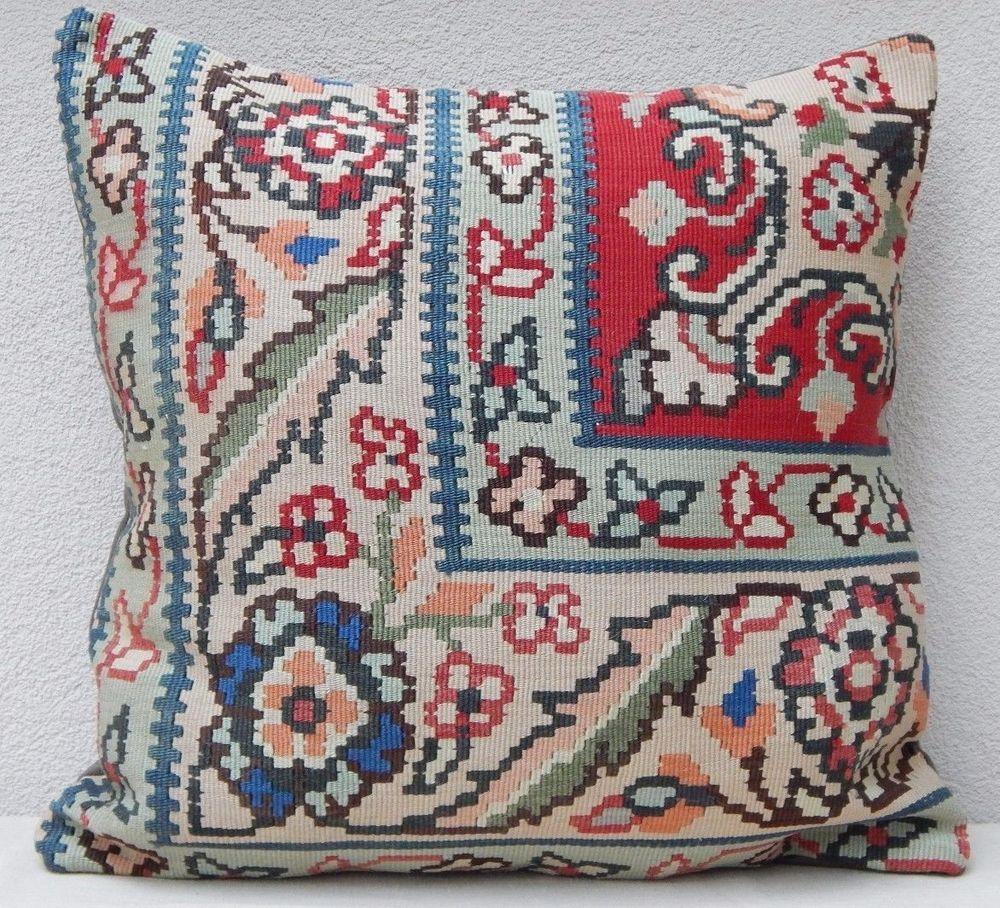 24'' X 24'' Vintage Handmade Floral Kilim Pillow Cover, 60 X 60 cm Large Cushion…