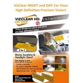 VizClear HD DAY and NIGHT Twin Flap Car Visor. 1xDAY Sunlight plus 1xNIGHT  Headlight Glare Flap in one. High Definition Precision Vision 204d04044c9