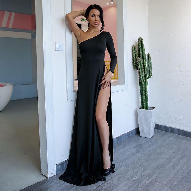 Black long formal dress sexy — 5