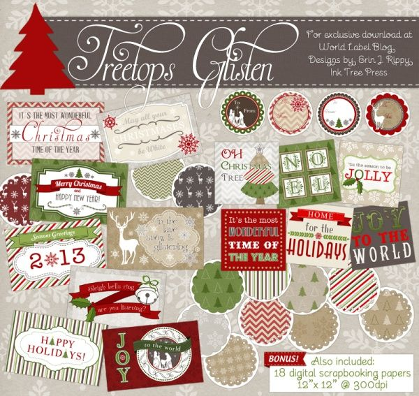 free treetop glisten christmas labels digital scrapbooking papers