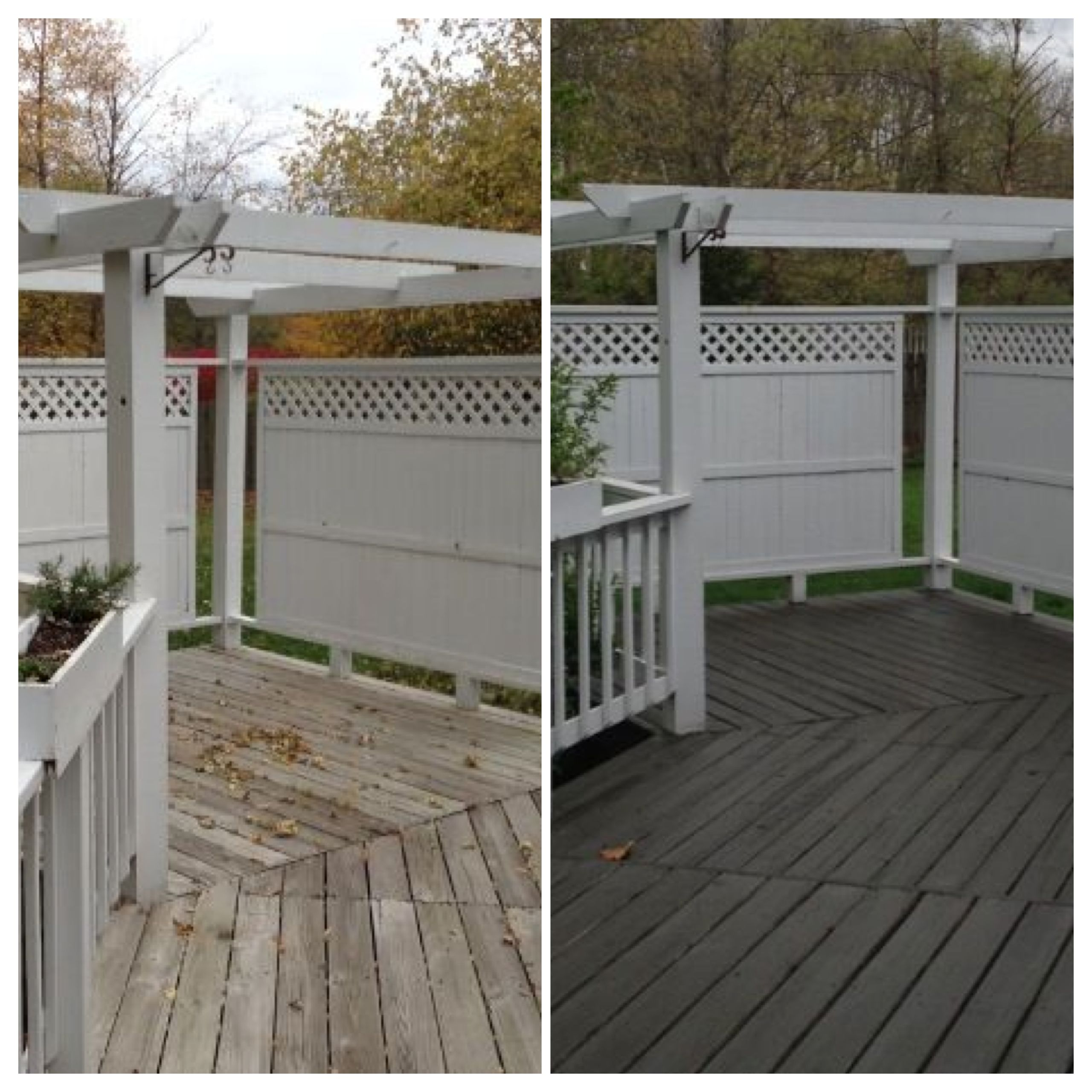 Deck before and after, Olympic Solid Color stain in Backwoods ...