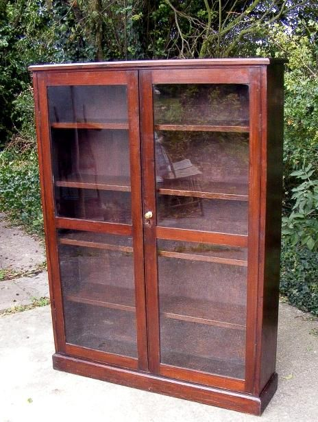 A Superb Antique Mahogany Glazed Bookcase Two Mahogany Framed Glass Panel Doors Four Original Removeable Sh Glass Panel Door Wine Glass Shelf Antiques Online