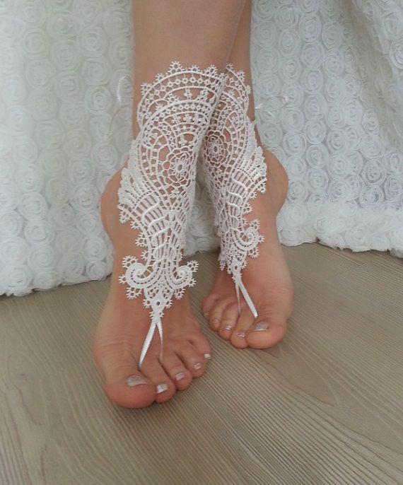 Bridal Anklet Ivory Beach Wedding Barefoot Sandals Bangle Free Ship