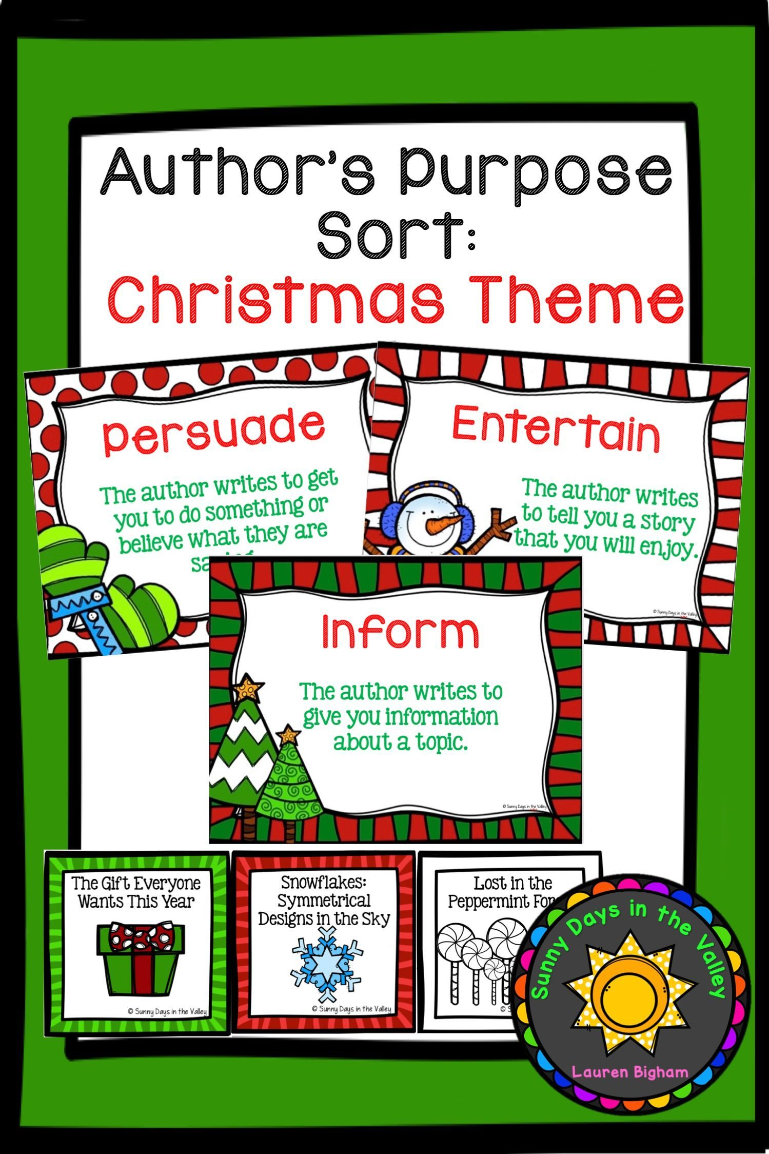 Author S Purpose Sorting Christmas Themed In