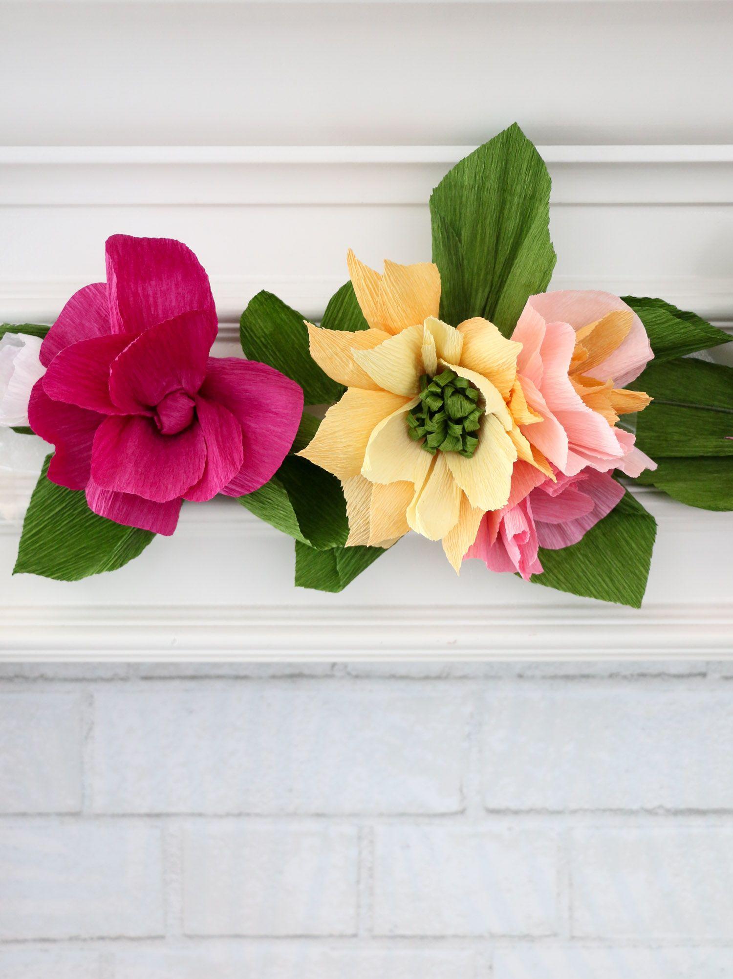 Make a Crepe Paper Flower Garland Paper flower garlands
