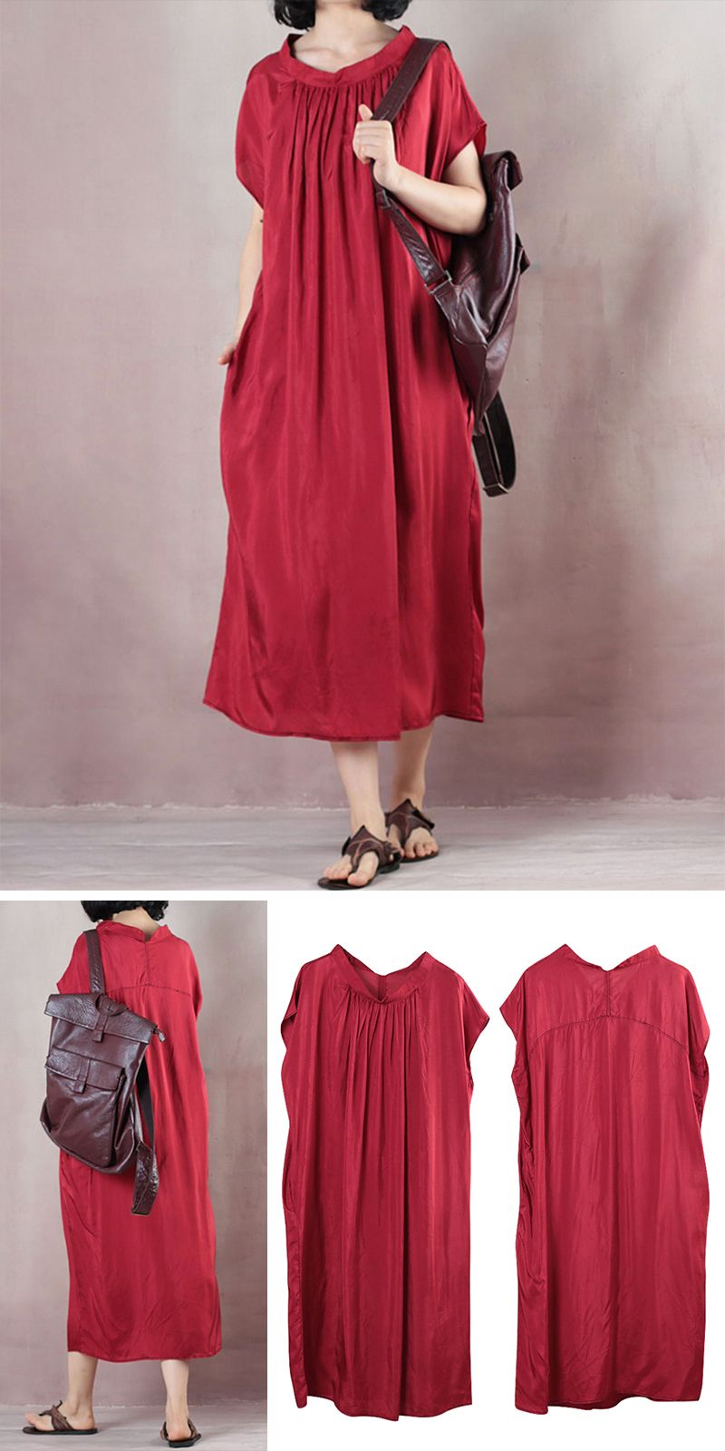 da679bb264 Pleated Women Summer Short Sleeve Loose Long Light Red Dress ...