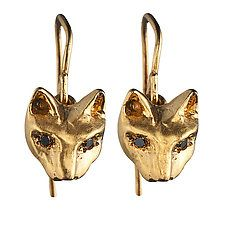 """Playing Cats Earrings with Black Diamond by Natalie Frigo (Gold & Stone Earrings) (0.3"""" x 0.3"""")"""