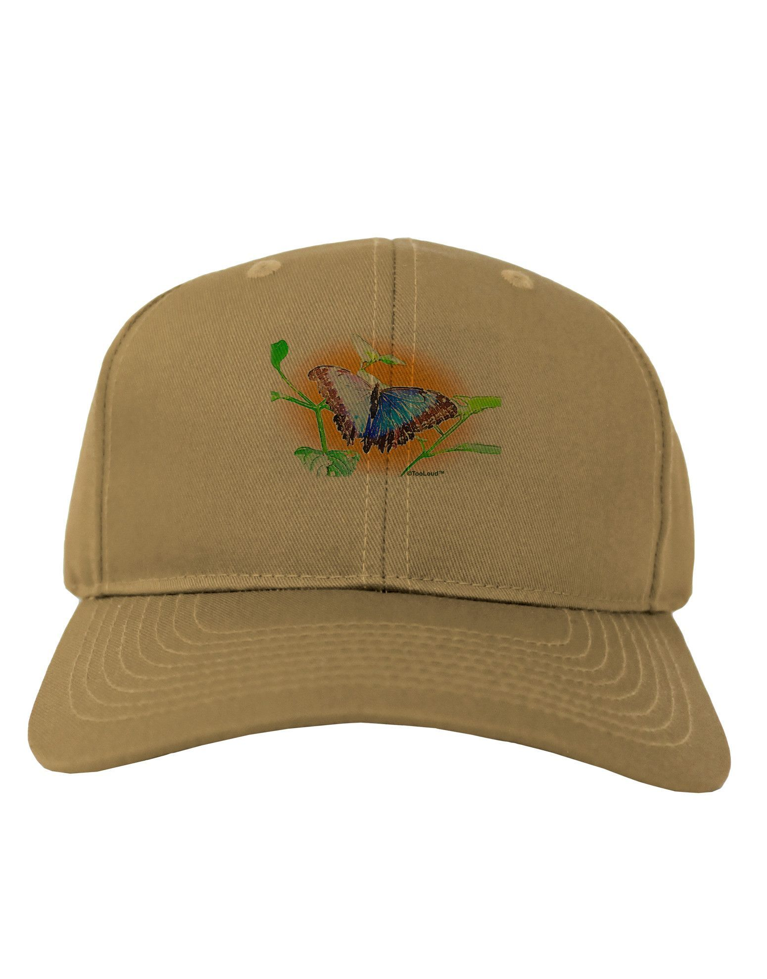 TooLoud Blue Watercolor Butterfly Adult Baseball Cap Hat