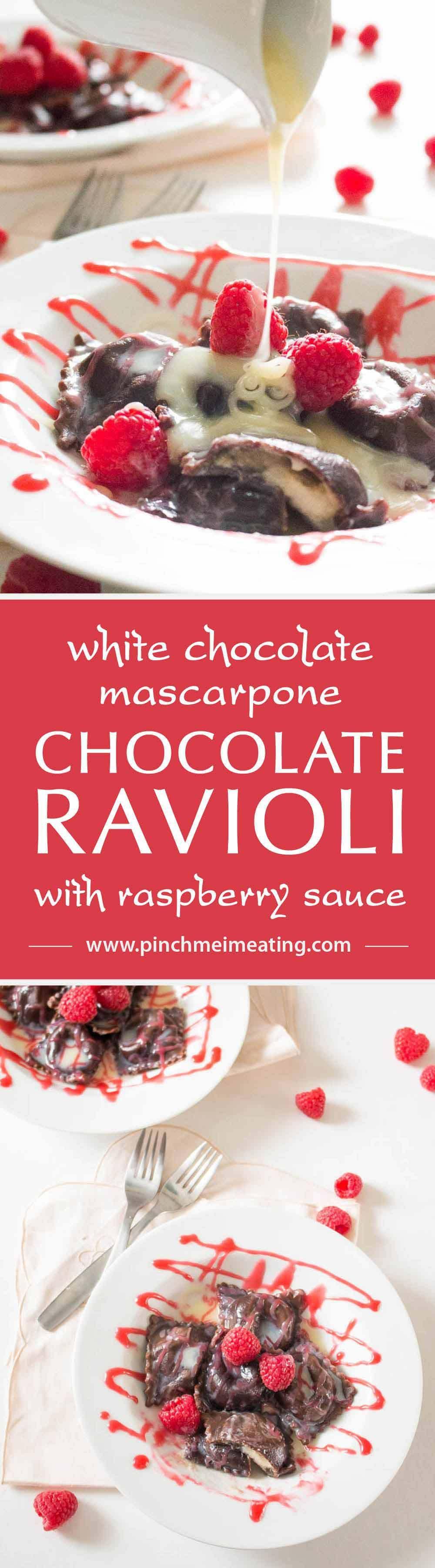 Chocolate Ravioli with White Chocolate Mascarpone and Raspberry Sauce