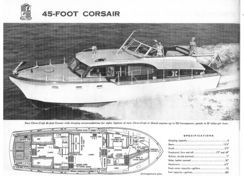1954 45 U0026 39  Chris Craft Corsair Ad With Specs