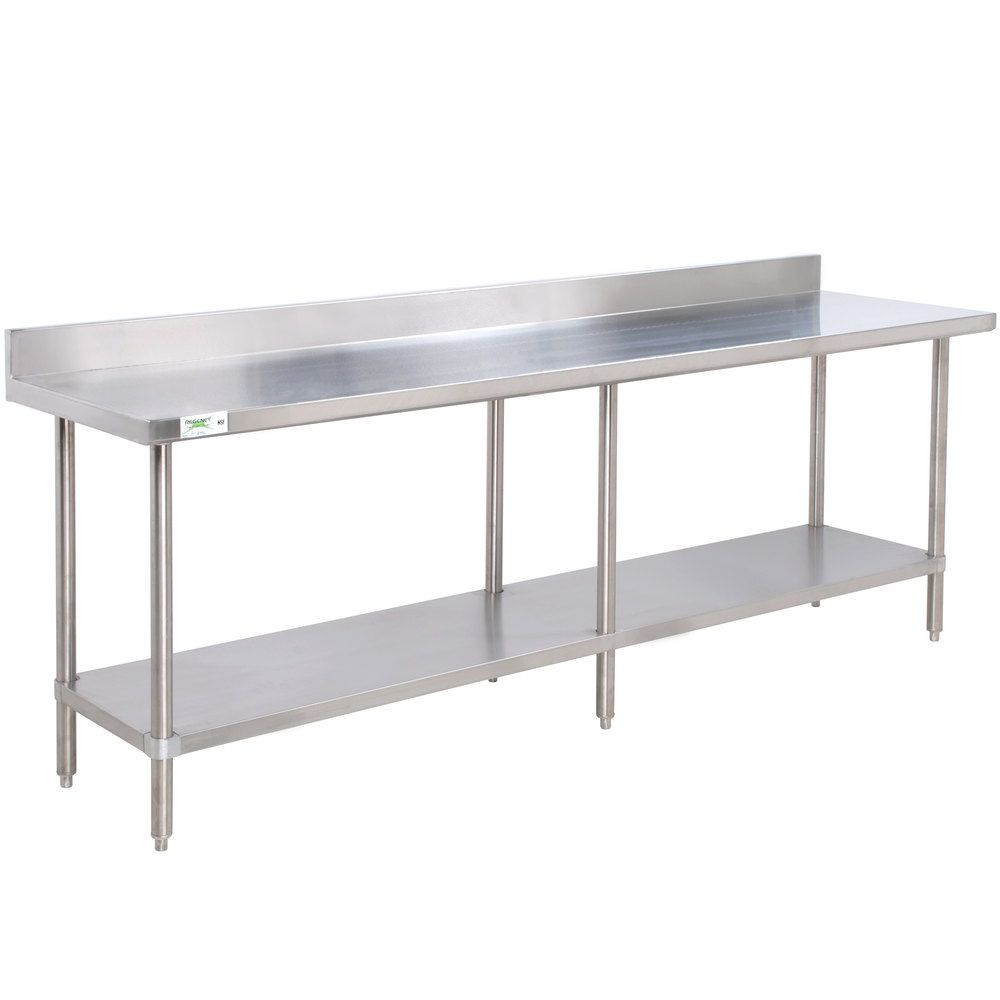 Regency 30 X 96 16 Gauge Stainless Steel Commercial Work Table With 4 Backsplash And Undershelf Stainless Steel Work Table Stainless Steel Prep Table Stainless Steel Kitchen Cabinets