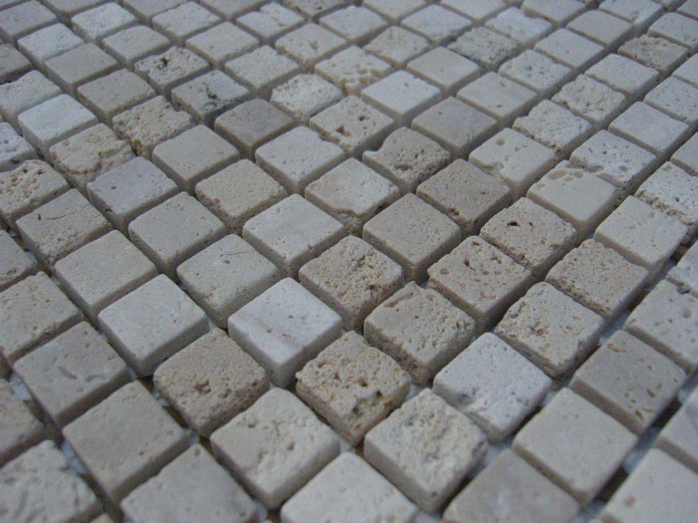 Naturstein Marmor Mosaik Fliesen TRAVERTIN 1,5x1,5 Beige Sand   Sehr Schön