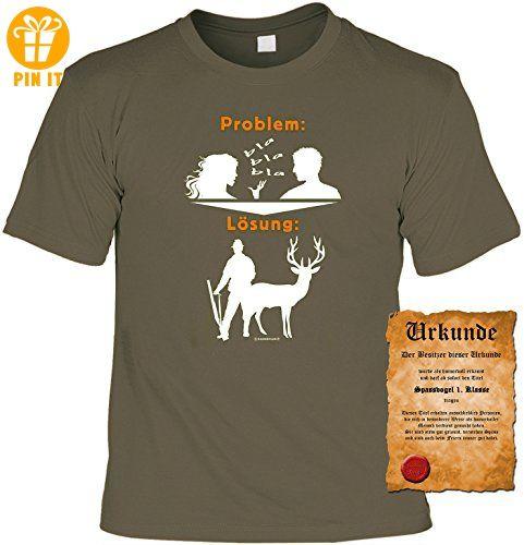 Sprüche - Motiv- Fun T-Shirt & Spaß Urkunde, Geschenke Set zum Geburtstag /  Vatertag für Jäger / Problem Lösung - T-Shirts mit Spruch | Lustige und  coole ...