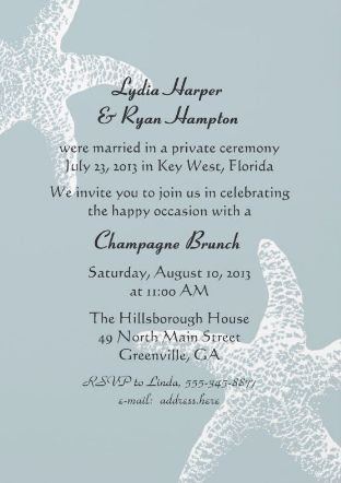 Not A Champagne Brunch But I Love The Starfish And Color On Thi Wedding Ceremony Invitations Wedding Reception Invitation Wording Reception Invitation Wording