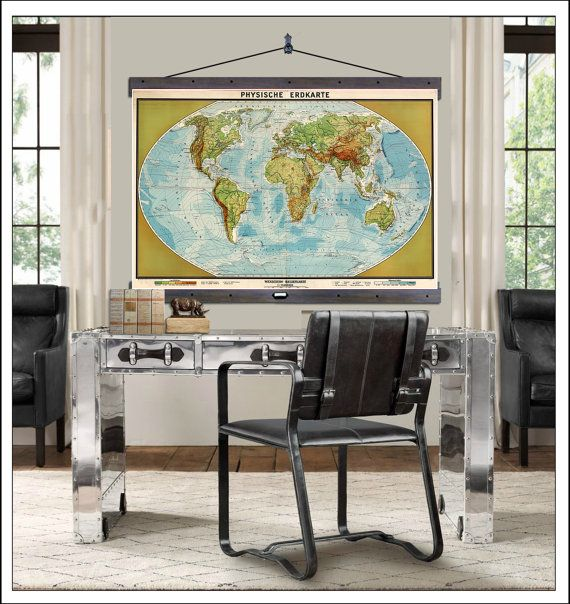New pull down map world map on canvas 1952 60w x 40h or 48w x pull down map world map on canvas 1952 60w x 40h or 48w x 36h school map wall chart hanging map antique wall map gumiabroncs Images