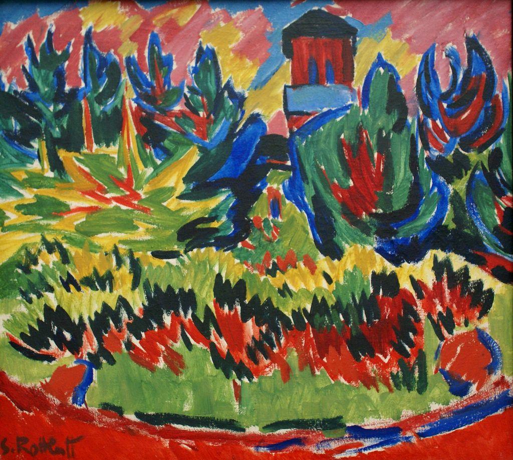 Karl Schmidt-Rottluff ~ De rode toren in het park ~ 1910 ~ Olieverf op doek ~ Städelsches Museum, Frankfurt ~ © DACS, 2016