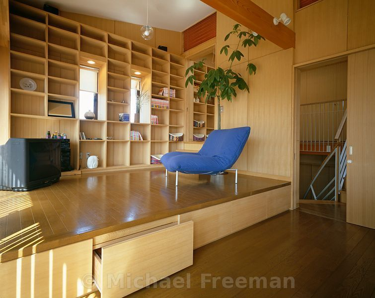 The living room of a low cost japanese home in chiba japan by architect shintaro hanazawa the - Low cost living room design ideas ...