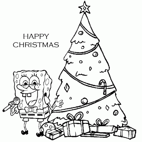 Spongebob Singing for Happy Christmas Coloring Pages ...