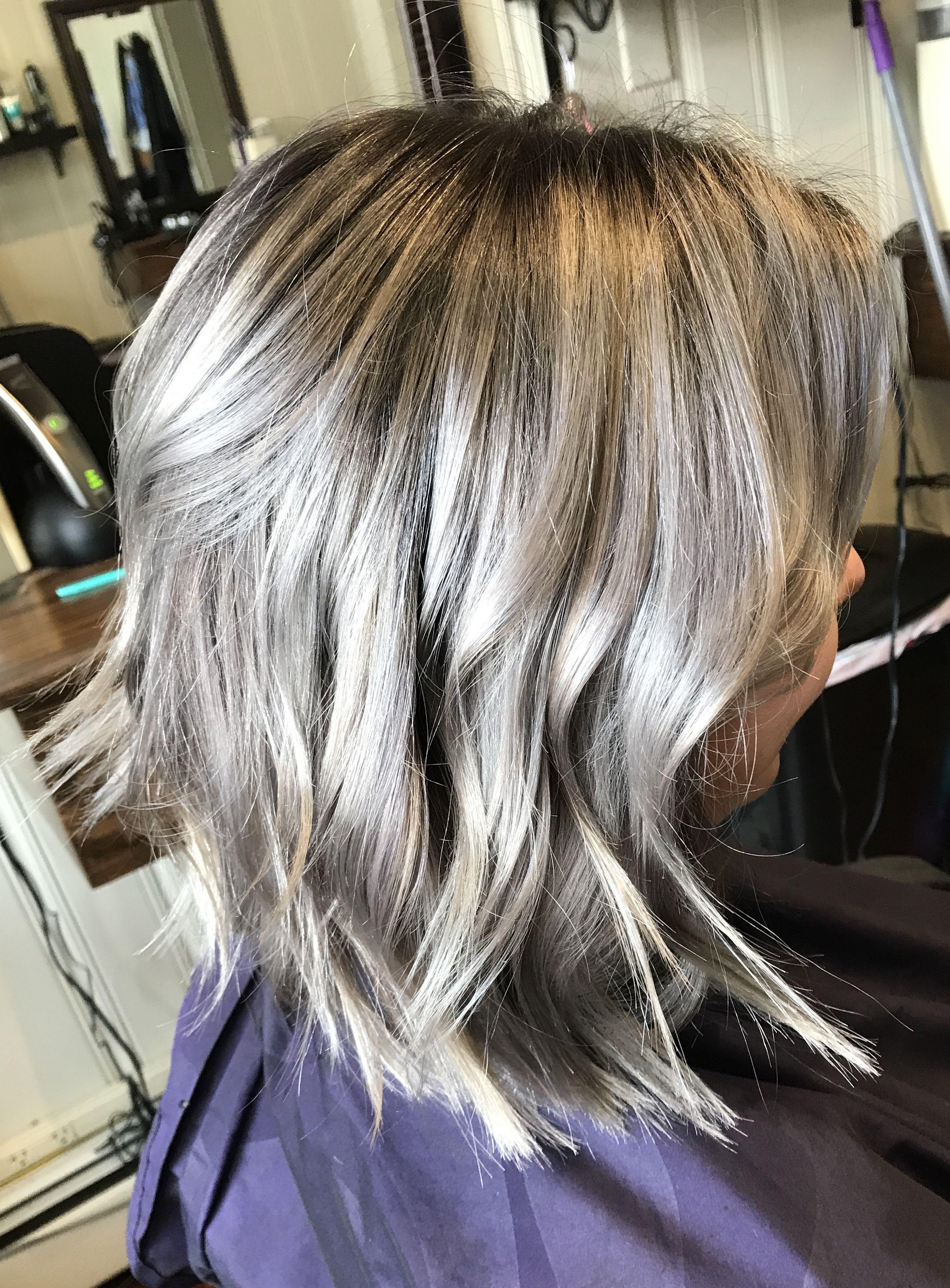 Silver Pearl Hair Color Short Choppy Bob Haircut Hair Ive