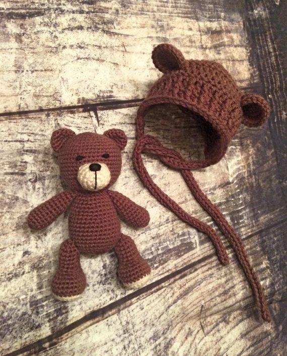 Crochet Bear and Bear Bonnet Set. Amigurumi. Bear Hat. Baby. Preemie and Newborn. - PATTERN ONLY #crochetbear
