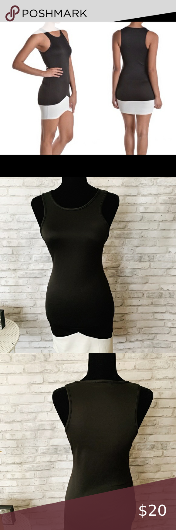 Black And White Contrasting Sleeveless Dress In 2021 Cute Blue Dresses Knitted Bodycon Dress White Babydoll Dress [ 1740 x 580 Pixel ]