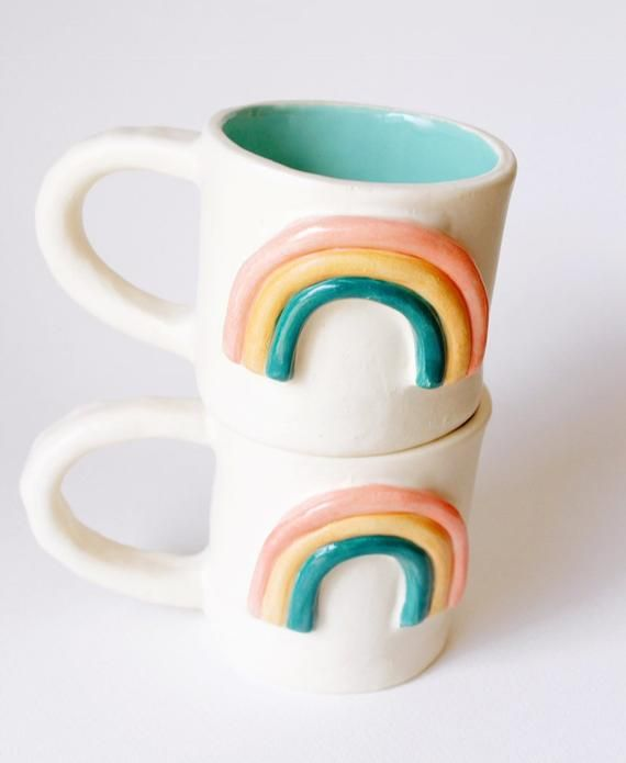 Items similar to Cerakic Rainbow Mug - 14 oz vintage inspired handmade rainbow mug on Etsy