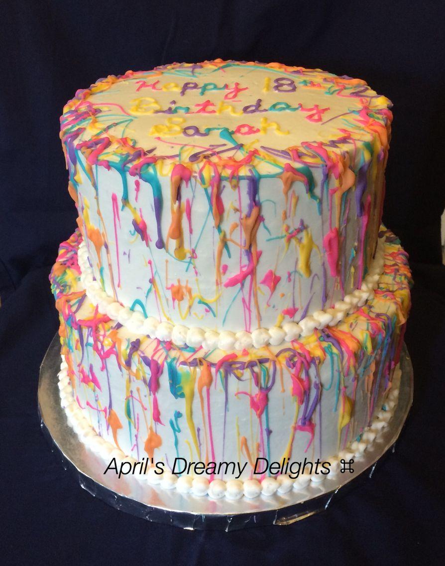 Admirable Splatter Paint Cake With Images Splatter Cake Personalised Birthday Cards Sponlily Jamesorg