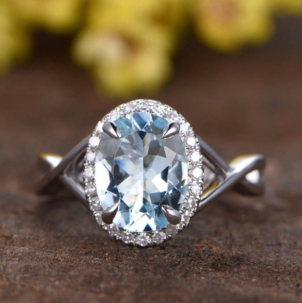 7x9mm Oval Aquamarine Engagement Ring Infinity Wedding