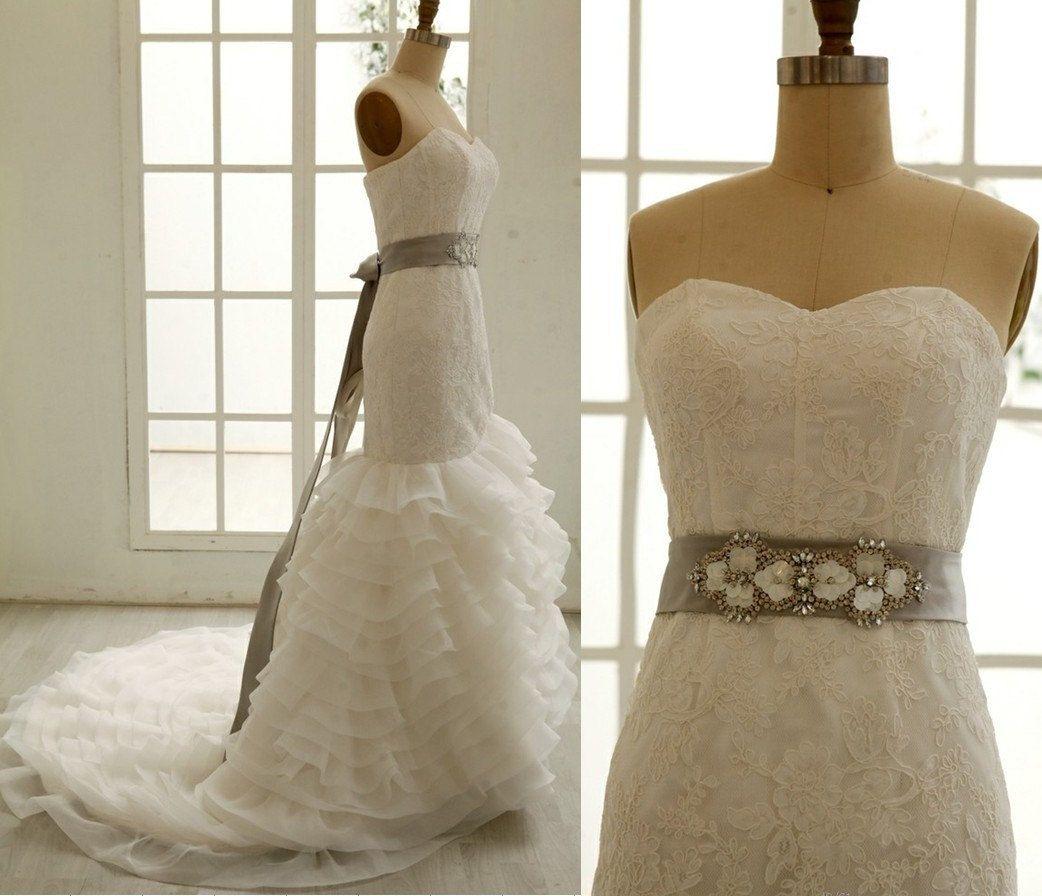 Lace Organza Mermaid Wedding Dress with Beading Sash by misdress, $299.00