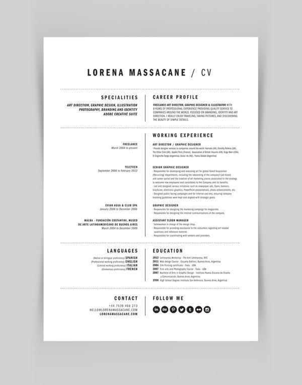 Design Personal Branding By Lorena Massacane Via Behance Cv