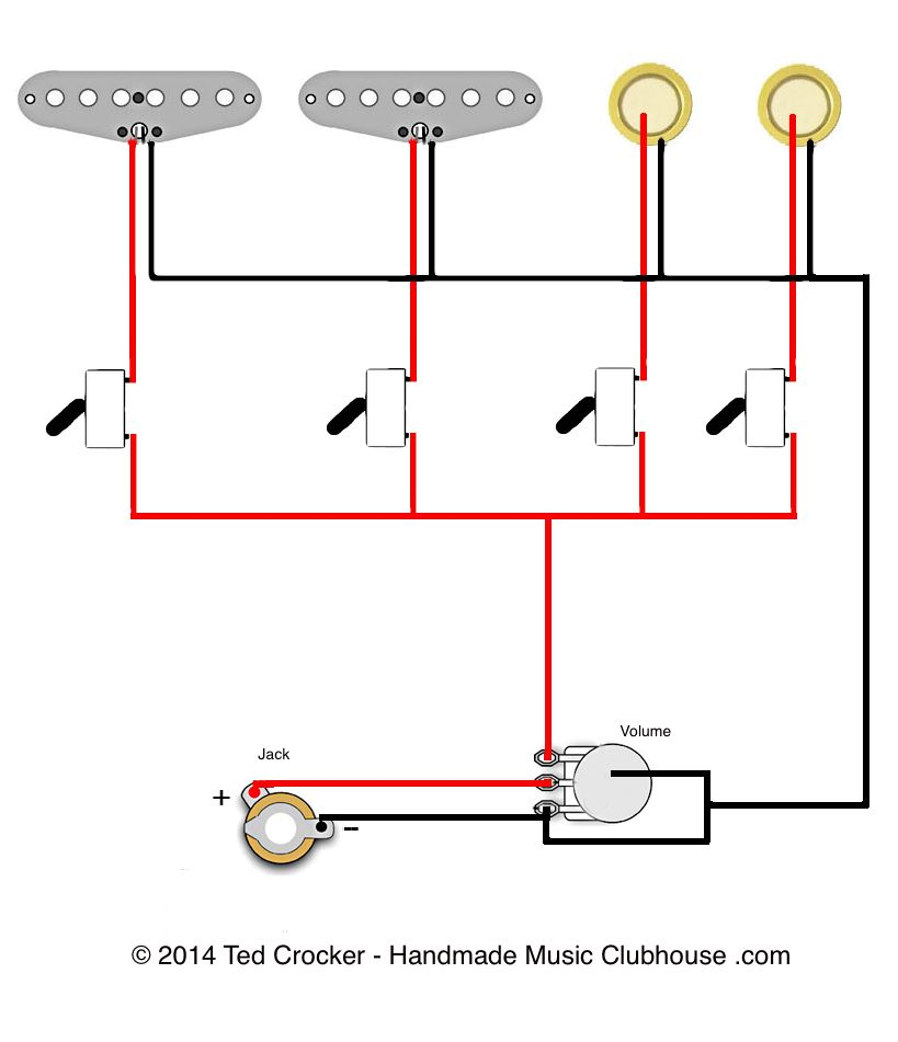 2 single coils 2 piezos 1 vol 4 mini on off switches ted rh pinterest com  mad hatter wiring diagram