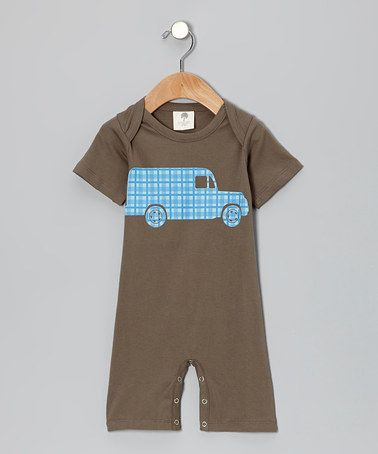 Take a look at this Charcoal Plaid Truck Organic Romper - Infant by Kate Quinn Organics on #zulily today!