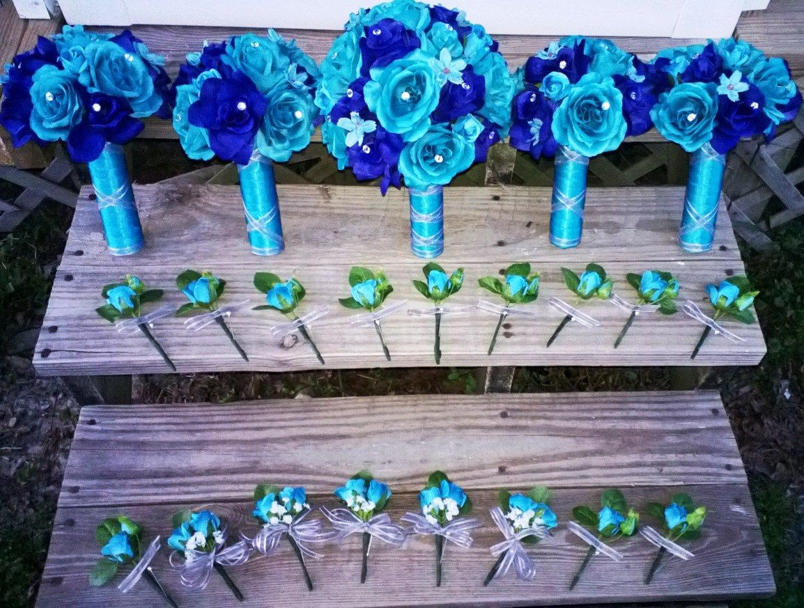 17 Piece Wedding Package, 22 Rose Colors,  Malibu Blue Bouquet, Royal Blue, Turquoise Bouquet, Malibu Blue Bouquet, Royal Blue Turquoise