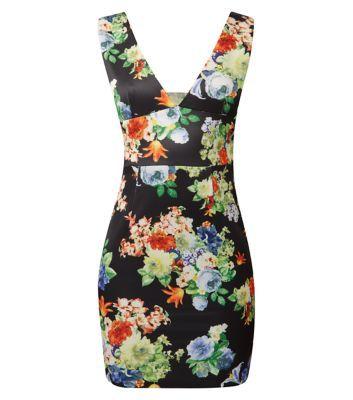 AX Paris Black Floral Print V Neck Dress