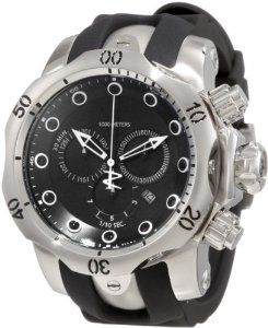 Invicta Men's 1404 Reserve Chronograph Black Dial Black Polyurethane Watch Invicta. $309.99. Black dial with white hands and black and white hour markers; luminous; unidirectional bezel; screw-down crown and pushers. Swiss quartz movement. Chronograph functions with 60 second, 30 minute and 1/10th of a second subdials; date function. Water-resistant to 1000 m (3280 feet). Flame-fusion crystal; brushed and polished stainless steel case; black polyurethane strap. Save 84%!